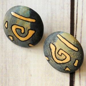 vintage painted wood round tribal clip earrings
